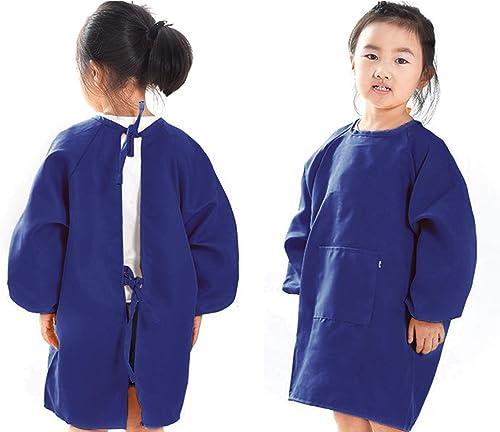 O-Kinee Tablier Peinture Enfant, Tablier Enfant pour Peinture, L'école Activités, Bricolage, Polyester Bleu(M)