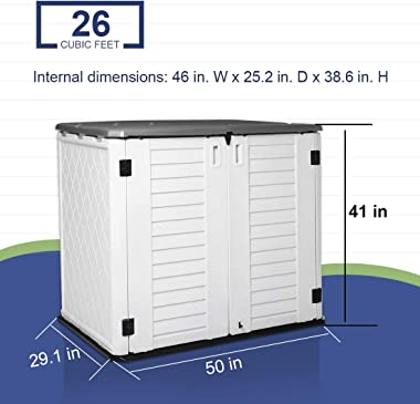 Horizontal Outdoor Garden Storage Shed for Backyards and Patios,Waterproof Storage Box,26 Cubic Feet Capacity for GarbageCans