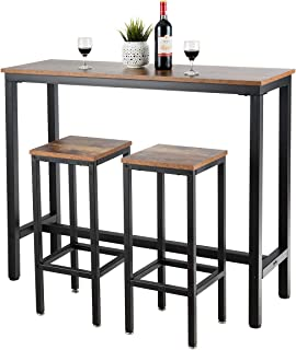 """COSTWAY 3-Piece Bar Table Set, 39.5"""" Bar Table with 2PC..."""