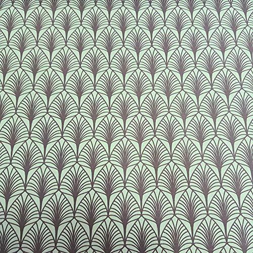 Werthers Stoffe Stoff Meterware Baumwolle beschichtet grün grau Blätter Mint Tischdeckenstoff abwaschbar