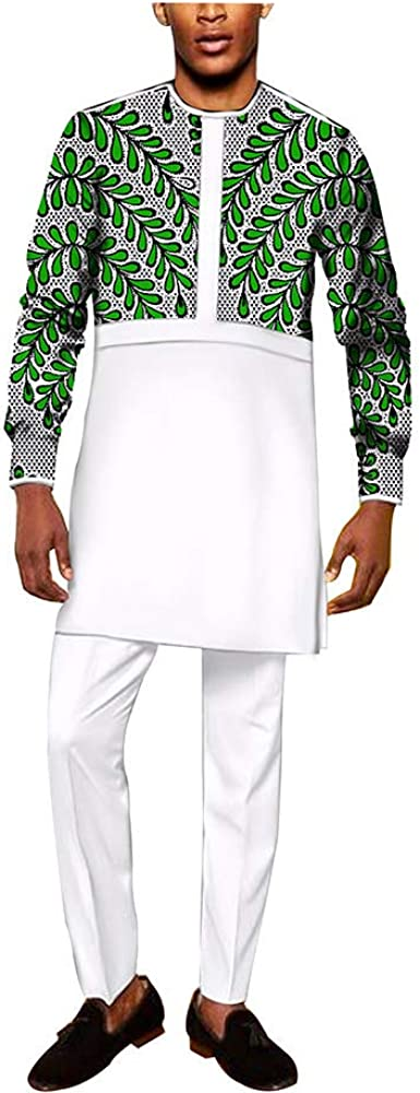 private afripride African Men Clothing Dashiki Two Pieces Suits Long-Sleeved and Pants Wax Print Ankara Formal