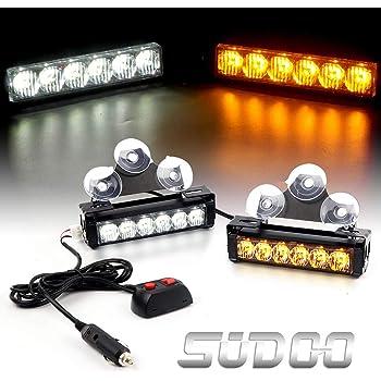 FOXCID 4 X 6 LED 7 Modes Traffic Advisor Emergency Warning Vehicle Strobe Lights for Interior Roof//Dash//Windshield//Grille//Deck Universal Waterproof Blue