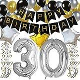 KUNGYO 30 Anni Buon Compleanno Festa Decorazioni Kit - Nero Striscione di Happy Birthday, 100CM Grande Pallone 30 in Argento, Stelle Palloncini , Lattice Ballon, Turbinii Appesi