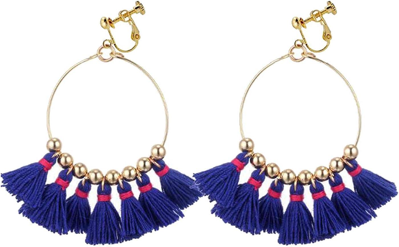 Retro Clip on Earrings Bohemian Earrings for Women Girls Dangle Drop Silk Tassel Fringe Beaded Vintage Statement