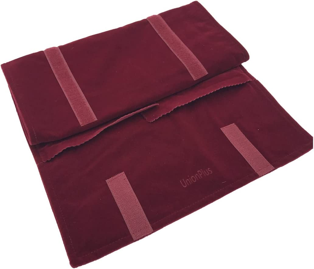 Burgundy UnionPlus Velet Travel Jewelry Case Roll Bag Organizer for Necklace Bracelet Earrings Ring Large Burgundy