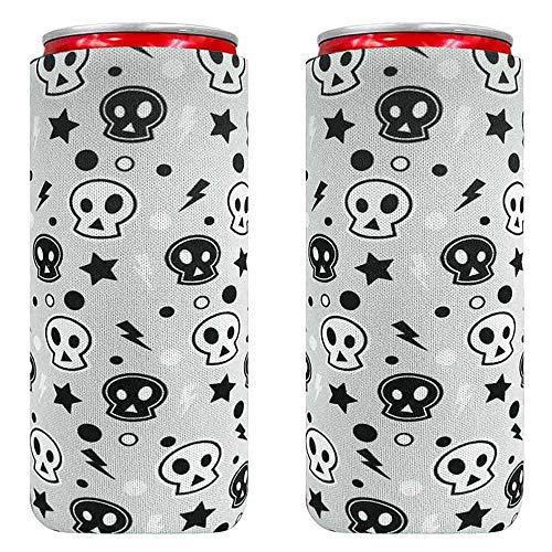 XccMe Neoprene Slim Can Sleeves,Foldable Tall Stubby Holder Can Cooler Insulators,Perfect for 12oz Slim cans Energy Drink & Beer RedBull,Michelob Ultra,White Claw. (Small Skull)