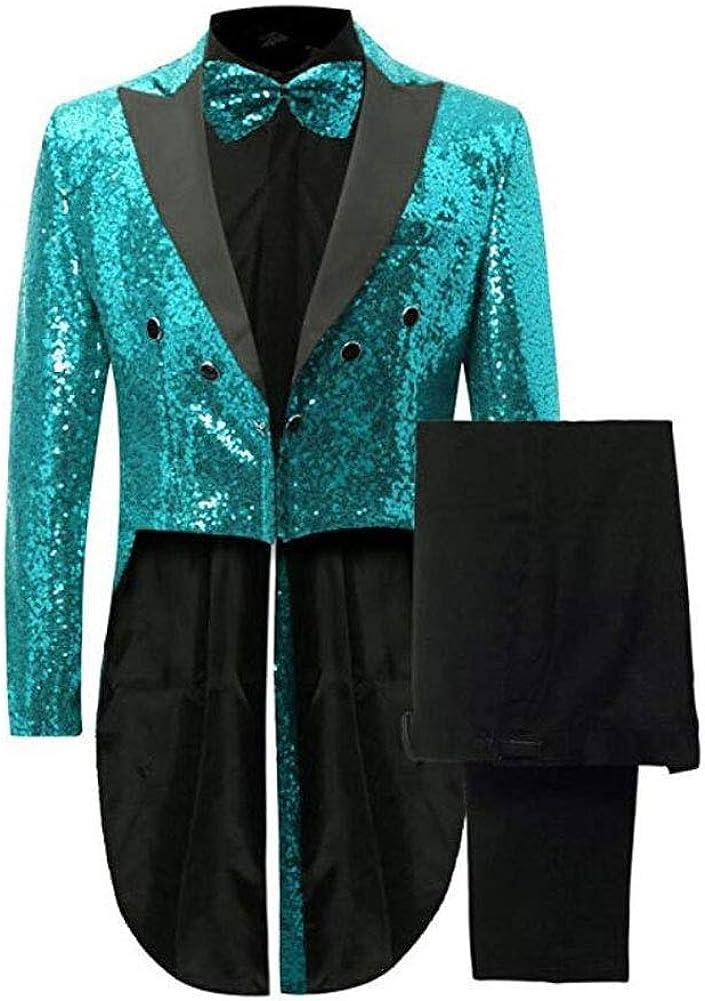 Botong Men's Notch Lapel Sequins Tailcoat 2 Pieces Nightclub Suit Wedding Prom Tuxedos