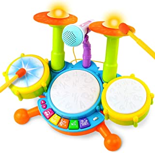 Drum Set for Kids Electric Musical Instruments Toys with 2 Drum Sticks Adjustable Microphone and Background Music Lights Indoor Family Games Early Learning Birthday Easter Gift for Boys Girls Children