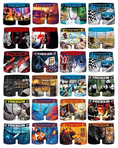 Freegun - Lot 4 de Boxers Fantaisie Homme Microfibre Confort - Disney - Marvel - Looney Tunes - Dragon Ball Z - Star Wars - Pokemon - Mario - Tsubasa - Stormtroopers (Pack de 4 Boxers Surprise, S)