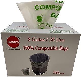 [ 50 count - 8 Gallon ] Tankon Compostable Trash Bags 8 Gallon, 30 Liter, 20 in x 24 in x 0.85 Mils; White colour, Food Sc...