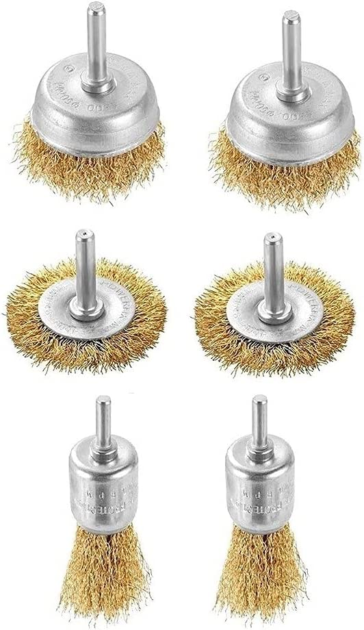 6 Luxury Pcs Wire Brush Direct store Brass-plated Steel Sh Cup 6mm W Dia
