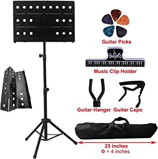 $30 » YDisplay Sheet Music Stand Portable Folding Music Holder with Guitar Hanger Capo Picks Suitable for Instrumental Performance Carring Bag,Black
