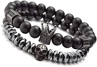 8mm Charm Beads Bracelets for Men with Black Onxy Stone King Crown Skull Handmade Jewelry, 7.5