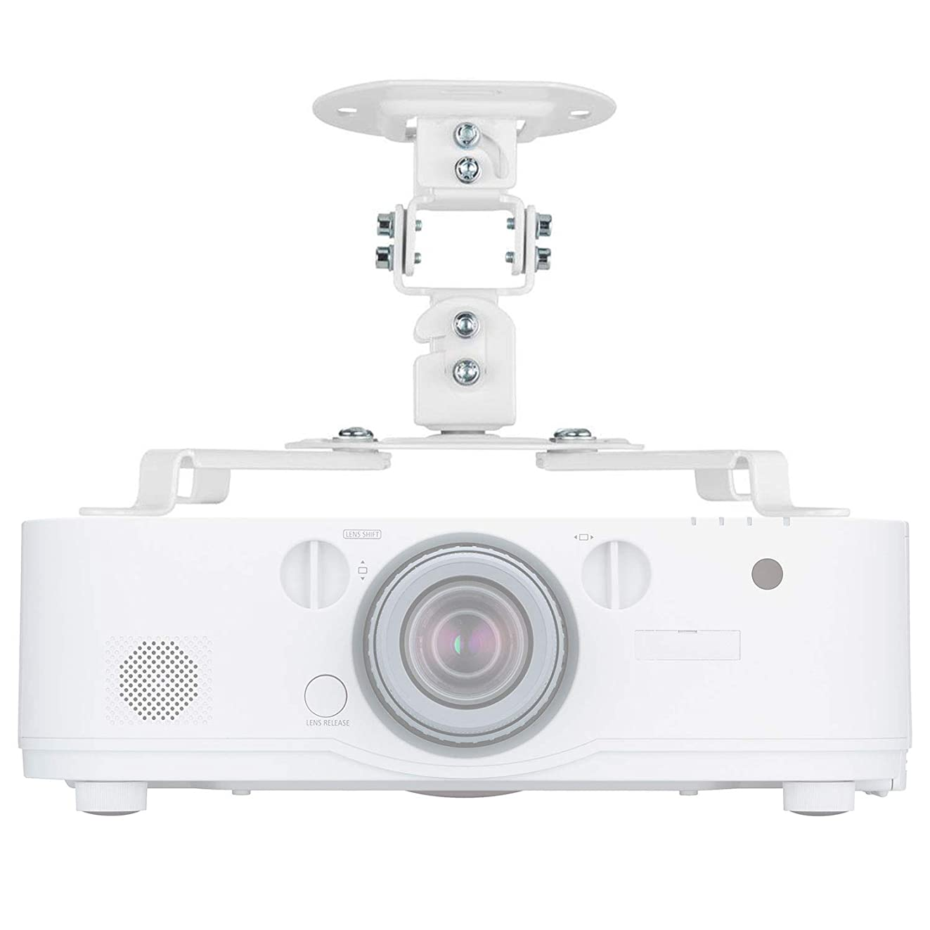 Universal Projector Mount Bracket Low Profile Multiple Adjustment Ceiling , Hold up to 30 lbs. (PM-002-WHT), White