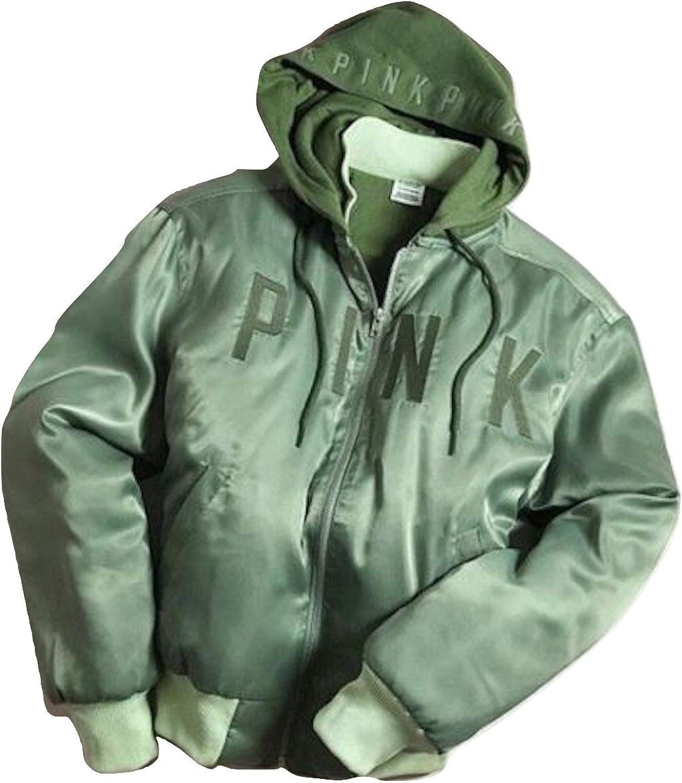 VS Pink Victoria's Secret Pink New  Hooded Bomber Jacket NWT Black XSmall