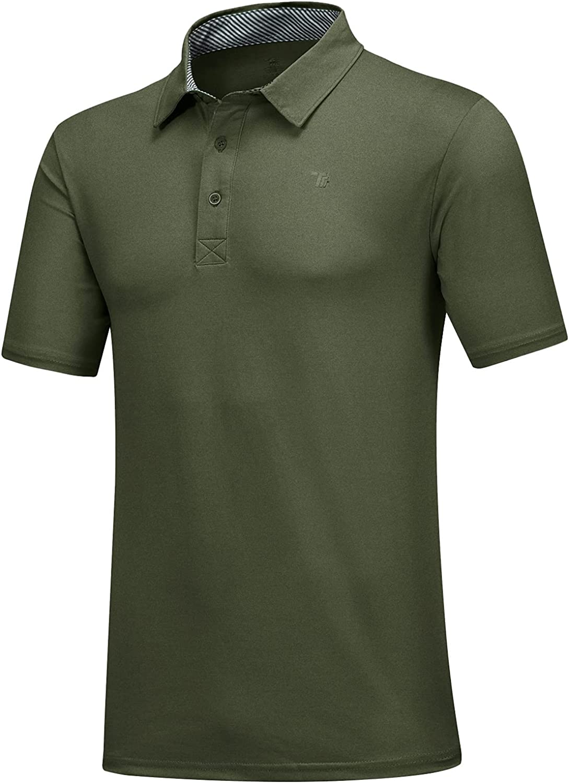 MoFiz Men's Short Sleeve Golf Polo Shirt Quick Dry Sport Shirt Collared Athletic T-Shirt: Clothing