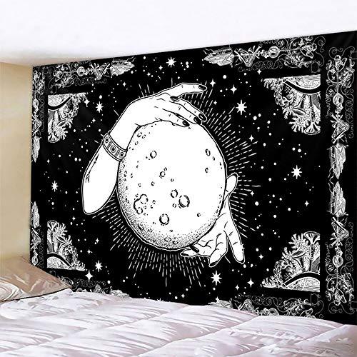 PPOU Tapiz de Mandala de Luna en Blanco y Negro Estilo Bohemio Colgante de Pared Manta de Arte psicodélico Colgante de Pared A15 130x150 cm