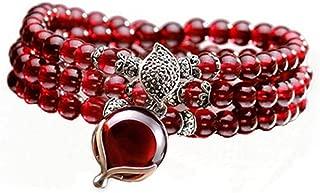 5mm Round Genuine Garnet Beads Bracelet with 925 Silver Marcasite Garnet Charm 20 inches