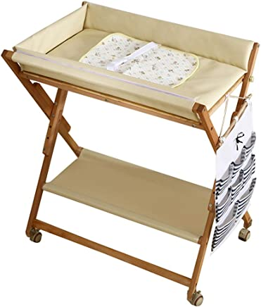 JINYANG Children Care Station Newborn Massage Table Baby Shower and Diaper Changing Table Adjustable Storage Foldable Safety Solid Wood Pink Green