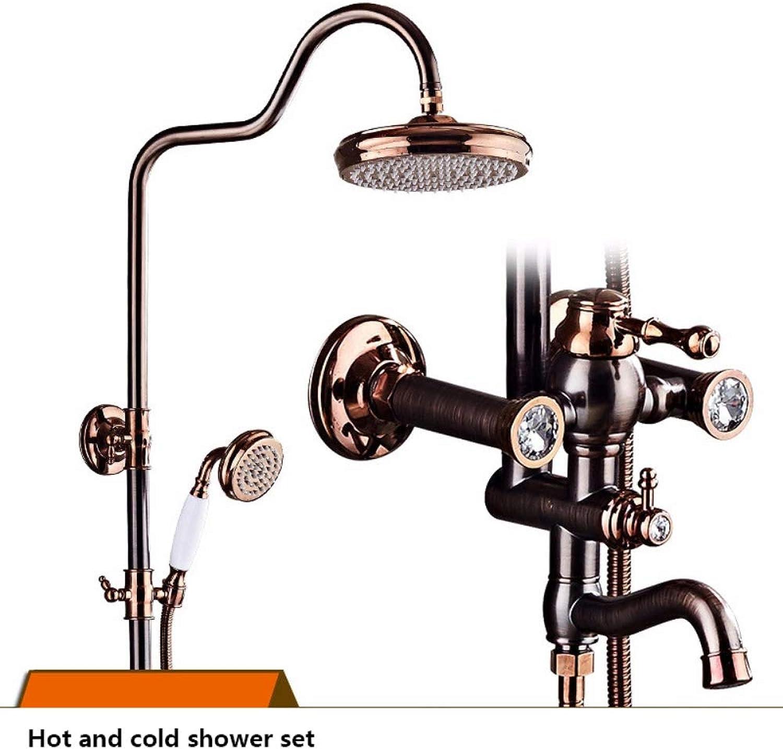 XSGDMN Messing Badezimmer Dusche Wasserhahn Set, Antik Vintage Badezimmer Dusche Mixer Set Duschsystem mit leicht zu reinigenden Düsen und Hhe einstellbar,B