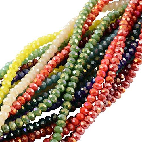 PandaHall 1500PCS Perline Vetro Colorate Giada Imitazione Sfaccettate Placcate per Braccialetti collane Gioielli Abaco AB Colore 3.5-4x2.5-3mm Foro: 0.5mm Circa 150pcs/ Filo Colore Misto Casuale