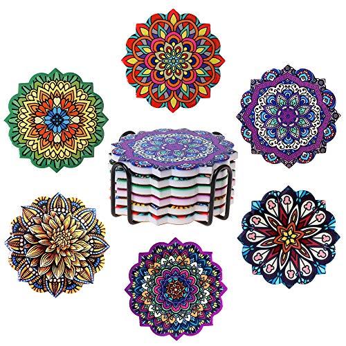 ROYAL TREE Glasuntersetzer, Untersetzer Gläser, Getränkeuntersetzer mit Halter und Box (Blumen Mandala, 6er Pack)