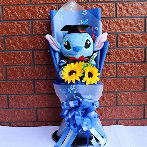 YXLY Stitch Jabón Ramo De Flores De Rosas Juguete De Peluche Dibujos Animados Anime Stich Muñeco De Peluche Suave Regalo Romántico De San Valentín -Sin Caja De Regalo