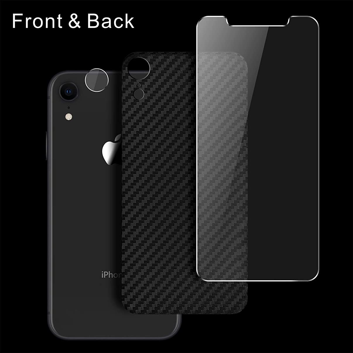 Singularity Products iPhone Xr Front Back Screen Protector, Tempered Glass Screen Protectors HD Clear Anti Fingerprint Special Textured Back Screen Protector Film Compatible iPhone Xr 6.1 inch