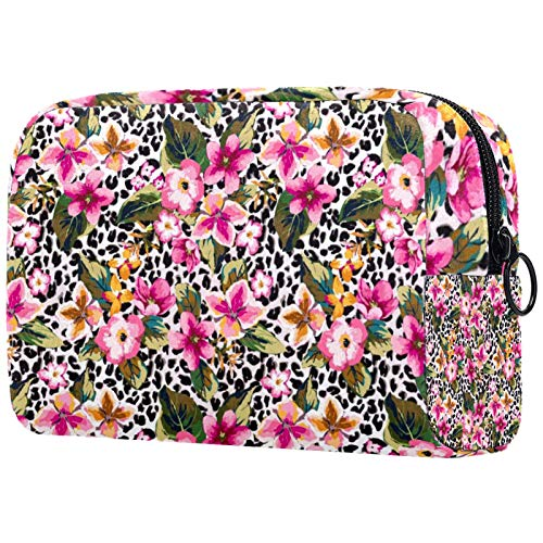 Cosmetic Bag Womens Waterproof Makeup Bag for Travel to Carry Cosmetics Change Keys etc Seamless Tropical Flower with Leopard Background
