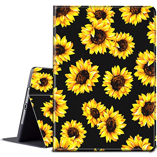 iPad 9.7 2018/2017 Case, iPad Air/Air 2 Case,BEROSET Lightweight Smart Protect Cover with Adjustable Stand & Auto Wake/Sleep for Apple ipad 6th 5th Generation - Yellow Sunflowers Black