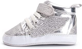 HONGTEYA Glitter Canvas Baby Sneakers Sparkle Silver Wingtip Casual Lace-up Shoes with Soft Anti-Slip Sole for Infant Boys Girls