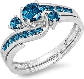 Dazzlingrock Collection 0.90 Carat (ctw) 10k Round Blue Diamond Ladies Swirl Bridal Engagement Ring Matching Band Set, White Gold