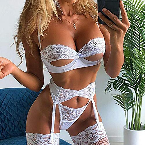 MEN.CLOTHING-LEE Ropa de Dormir para Mujer Corsés para Mujer Sexy-Lingerie-Underwear-Sleepwear-Women-G-String-Bra-Lace-Babydoll-Nightwear Lady Sexy Lace Bikini Cover up Beachwear-White_S