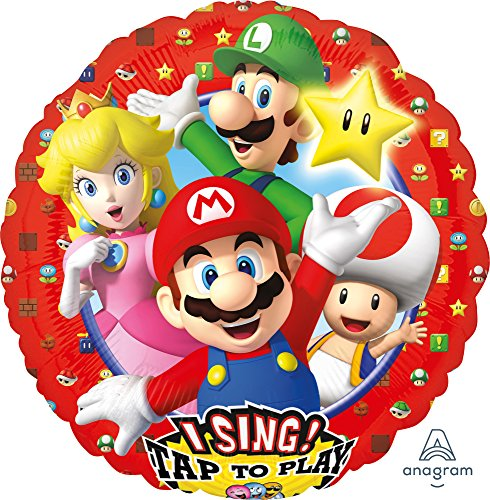 Singender Folienballon * SUPER Mario * für Geburtstag // Kindergeburtstag Folien Ballon Party Helium Deko Ballongas Luftballons Singing Balloon