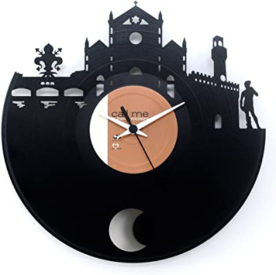 Florence Italy gift souvenir Honeymoon gift vinylclock with pendulum black color original Vinyluse Made in Italy