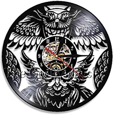 Amazon Com Chuangzhao Retro Wall Clock Modern Fashion Colorful Led Vinyl Wall Clock Motorcycle Steampunk Vinyl Record Wall Clock Owl Steampunk Furniture Steampunk Owl Jew Wall Decoration Best Choice Home Kitchen