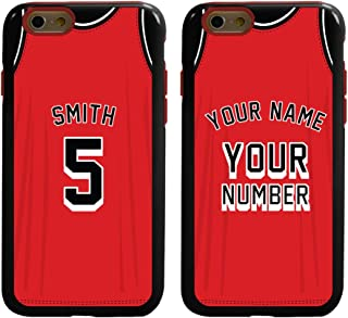 Custom Basketball Jersey Cases for iPhone 6 / 6s by Guard Dog – Personalized – Put Your Name and Number on a Rugged Hybrid Phone Case. Includes Guard Glass Screen Protector. (Black, Red)