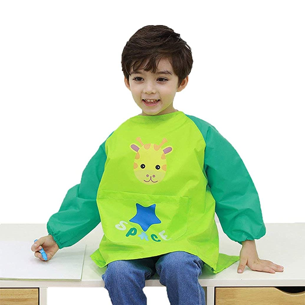 Hosim Children's Art Smock Long Sleeve Waterproof Painting Apron, Kids Lovely Monkey Artist Smocks Play Apron with Large Pocket, Ideal for Painting/Kitchen/Baking (M, Green)
