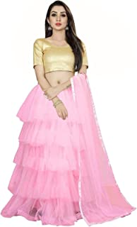 Ocean Fashion Women's Net Semi Stitched Lehenga Choli and Dupatta Set