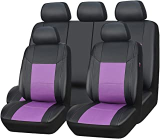 New arrival- car pass skyline PU leather car seat covers - universal fit for cars, SUV, vehicles (11pcs, black with purple)