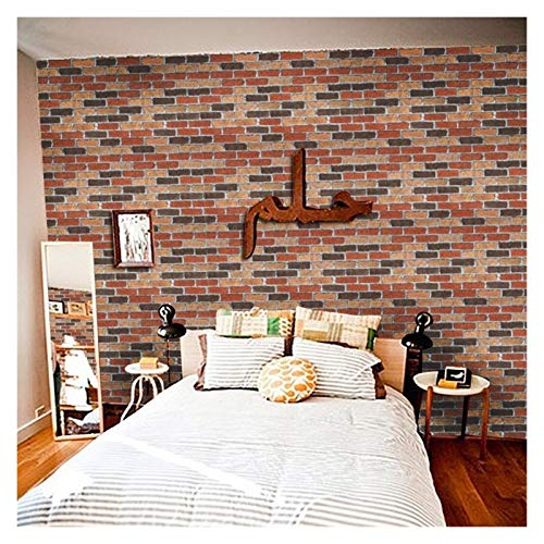 WHYBH HYCSP Red Brick Wallpaper for Wohnzimmer Schlafzimmer Küche Hintergrund Kunst-Wand-Removable Selbstklebende Wand-Papiere Home Decor (Color : Style Q, Size : 45cmx1m)
