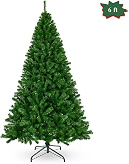 Cchainway 6FT Artificial Christmas Tree Hinged Douglas Pine Xmas Tree with Metal Stand, 1000 Branch Tips, Perfect for Indoor and Outdoor Holiday Decoration (Green, 6 FT)