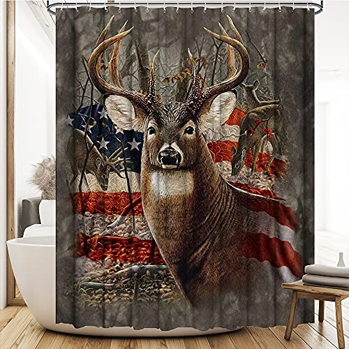 Deer Shower Curtain American Flag Hunting Antler Camo Curtain Patriotic Waterproof Bathroom Decor Accessories Fabric Polyester Curtain with Hooks Machine Washable 72 x 72 inches