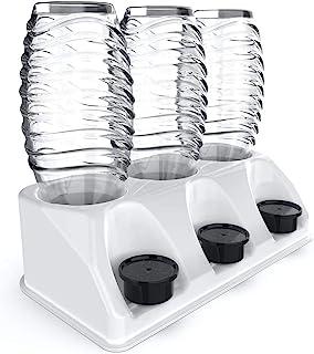 SODACLEAN¨ Premium 3-delige flessenhouder kunststof hoogglans | afdruiphouder voor Soda Stream Aarke Emil flessen met deks...