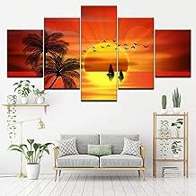 YHEGV Adicionar Adicionado Wall Art 5 Panels In Prints Canvas Painting On Canvas Hd Orange Sunset With Bird Boat Painting Art Modular Wallpaper Poster Print Posters Living Room Home Decor-A