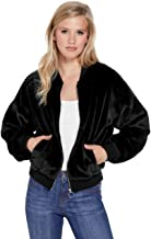 GUESS Factory Women's Cali Faux-Fur Cropped Zip Up Chic Bomber Jacket