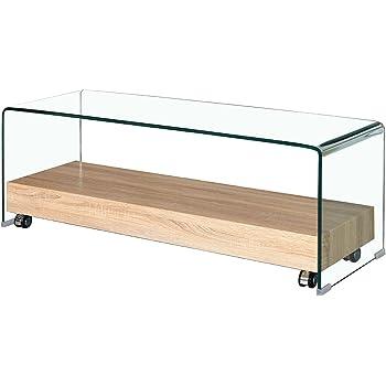 Mueble TV de Cristal Transparente – Bandeja Base con Ruedas (Madera Décor Roble – diseño Moderno – Ice: Amazon.es: Hogar