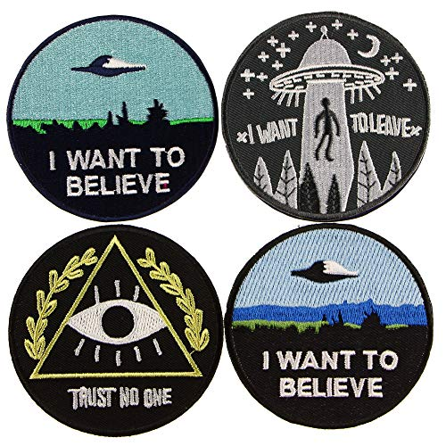 ʕ•́ᴥ•̀ʔっ 4 Patches - I Want to Believe, Trust NO ONE, I Want to Leave Iron Sew on Patches