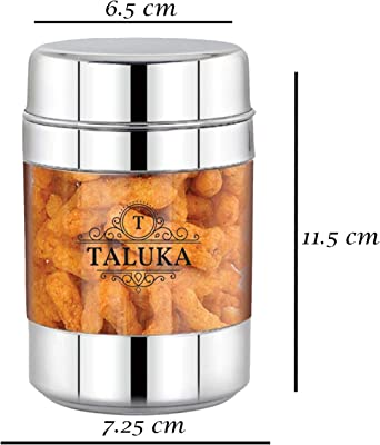 Taluka Round Stainless Steel Unbreakable Fiber Designer Jar Container Canister - 1 Pcs, 600 ML