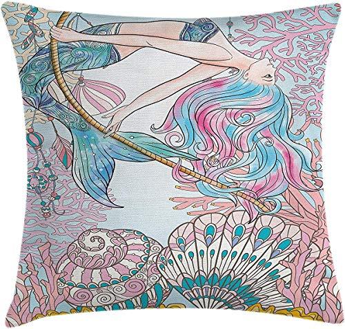 Funda de almohada de sirena, funda de cojín con diseño de sirenas en el mar, sirenas griegas, mito femenino, imagen de cola de pez, funda de almohada decorativa cuadrada de 66 x 66 cm, color rosa y azul